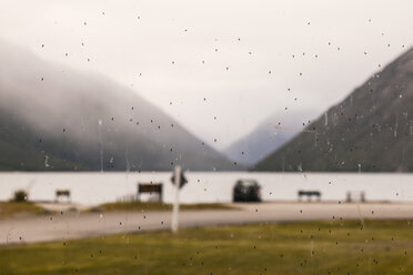 New Zealand, Tasman, lake rotoroa, lake-side camping site, sandflies on window - WV000643