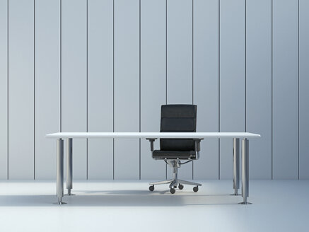 Office chair and conference table in front of grey wall panel, 3D Rendering - UWF000106