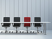 Four office chairs and conference table in front of grey wall panel, 3D Rendering - UWF000103
