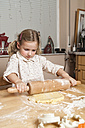 Portrait of little girl rolling out dough - ECF000631