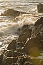 Australia, New South Wales, Tweed Shire, splashing breakwater and rocks at the shore of Hastings Point in the first morning light - SHF001323