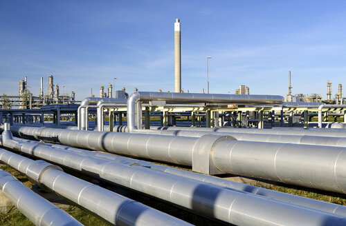 Germany, chemical industry, pipes in oil refinery - SCH000220