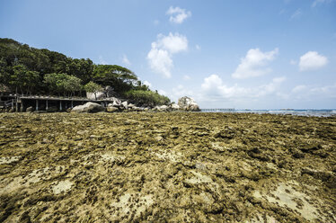 Indonesia, Riau Islands, Bintan, Nikoi Island, Beach with granite rocks an coral reef - THAF000373