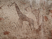 Africa, Namibia, Erongo mountains, prehistorical rock painting - HLF000551