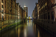 Germany, Hamburg, Bridge over canal in the old warehouse district - TIF000040