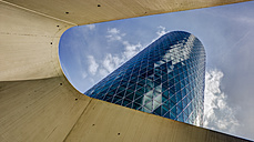 Germany, Hesse, Frankfurt, Westhafen Tower, view from below - TI000049