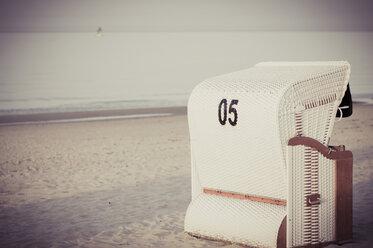 Germany, Mecklenburg-Western Pomerania, Ruegen, Beach chair on beach - MJF001185