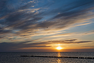 Germany, Mecklenburg-Western Pomerania, Ruegen, Dranske, Baltic Sea at sunset - MJF001238