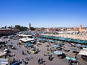 Africa, Morocco, Marrakesch-Tensift-El Haouz, elevated view at Djemaa el Fna - AMF002265