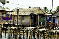 Indonesia, Riau Islands, Bintan Island, Fishing village, Wooden hut - THAF000409