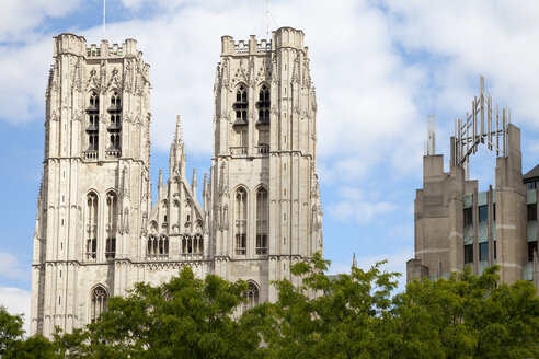Belgium, Brussels, view to Cathedral of St Michael and St Gudula - WIF000719
