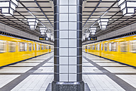Germany, Berlin, subway station Paracelsiusbad with moving underground train - NKF000143