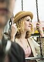 Portrait of teenage girl at fun fair - UUF000614