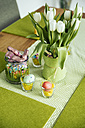 Easter table decoration with eggs, candy and tulips - MFF001110