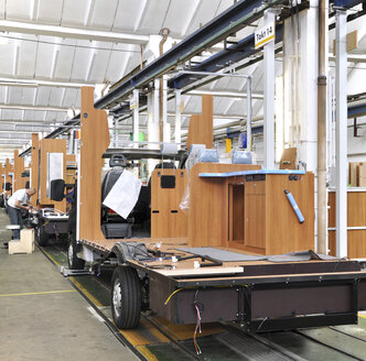Assembly line production of motorhomes in a factory - SCH000245