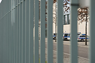 Germany, Berlin, police cars parking on closed area of chancellor's office - AS005373