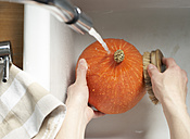 Hands of woman cleaning Hokkaido pumpkin with vegetable brush in sink, elevated view - SABF000025