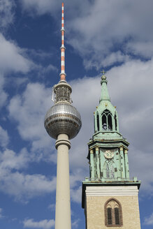 Germany, Berlin, TV Tower at Alexanderplatz and St. Marienkirche - HHEF000090