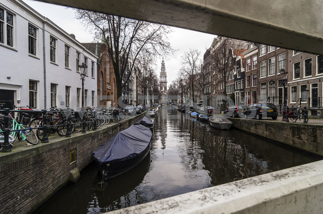 Netherlands, Holland, Amsterdam, Canal, Houses and Zuiderkerk in the background - THA000413