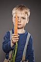 Portrait of little boy holding a carrot - OJF000036