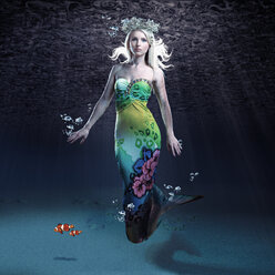 Young woman as mermaid under water - VTF000263