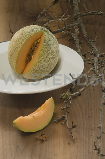 Muskmelon, Cucumis melo, on plate - ASF005399