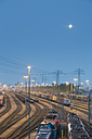 Germany, Hamburg, Switching yard station Altenwerder at night - MS003955