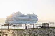 Germany, Hamburg, cruise ship passing landing jetty Rueschpark at Finkenwerder - MS003976