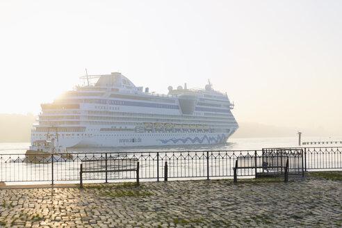 Germany, Hamburg, cruise ship passing landing jetty Rueschpark at Finkenwerder - MS003976