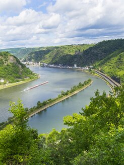 Germany, Rhineland-Palatinate, view from Loreley at Middle Rhine valley - AMF002274