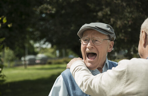 Portrait of happy old man having fun with his friend - UUF000694