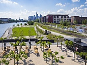 Germany, Hesse, Frankfurt, view to skyline with new park and beer garden in the foreground - AMF002313