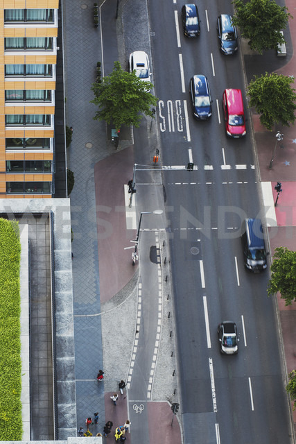 Germany, Berlin, main road with traffic at Berlin Mitte, bird's view - ZMF000281
