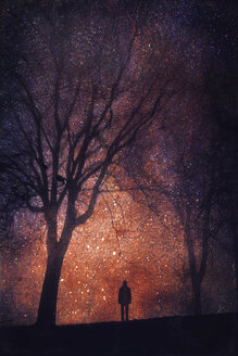 Silhouette of person in front of starry sky, composite - DWI000083