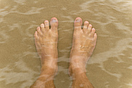 Australia, New South Wales, Pottsville, double exposure of male feet in the water - SHF001347