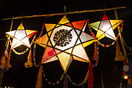 Laos, Luang Prabang, Colourd lanterns in the evening - MBEF001035