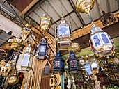 Morocco, Marakesh, Medina, stall with Oriental lamps - AM002308