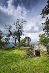 Germany, Baden-Wuerttemberg, Constance district, castle ruin of Hohenhewen with entrance portal and keep - ELF001045