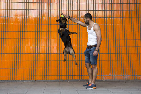 Portrait of young man playing with his Rottweiler in front of orange tiled wall - FX000012