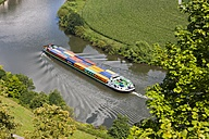 Germany, Hesse, Neckarsteinach, Container ship on Neckar river - AM002329
