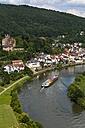 Germany, Hesse, Neckarsteinach, Mittelburg Castle, Container ship, Neckar river - AM002331