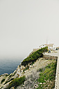 Spain, Majorca, lighthouse Far de Capdepera in fog - MEM000173