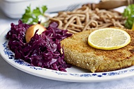 Tempeh schnitzel with red cabbage and wheat spaetzle - HAWF000272