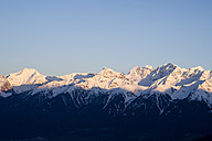 Italy, South Tyrol, Mals, Ortler Alps at sunset - MYF000327