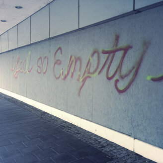 Depression, emptiness, graffiti on a house wall, Munich, Bavaria, Germany - GS000878
