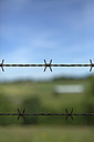 Germany, North Rhine-Westphalia, Barb wire fence - GD000332