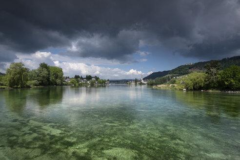 Switzerland, Thurgau, Eschenz, View to Stein am Rhein - ELF001074