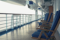 Germany, Baltic Sea, On board of a cruise ship in the morning, Deck chairs - MEM000216