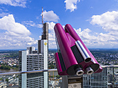 Germany, Hesse, Frankfurt, pink coin operated binoculars at panorama terrace - AM002383
