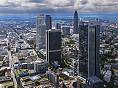 Germany, Hesse, Frankfurt, view to skyscrapers and city from above - AMF002398